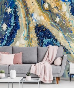 Cream and blue mural for the bedroom