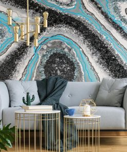 Wall mural with blue resin abstraction