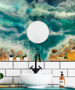 mural for the bathroom geode art sea