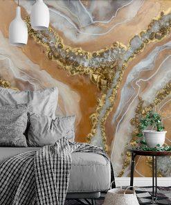 Resin art mural - Golden abstraction