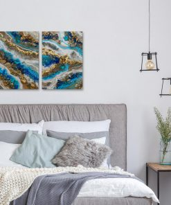 Diptych painting - Blue resin art