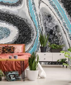 Black and white wall mural with a touch of blue