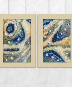 Diptych poster with blue stones for the office
