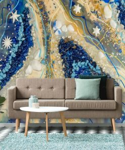Cream and blue mural with abstraction