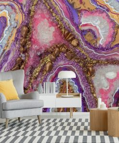 Violet and pink wall mural with an epoxy resin motif