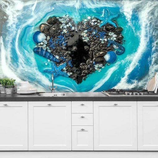Wall Mural - Heart made of seashells
