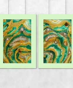 Diptych poster showing green abstractions