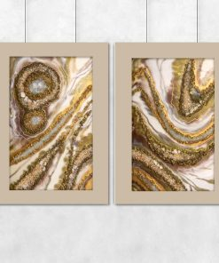 Cream diptych poster - Resin painting