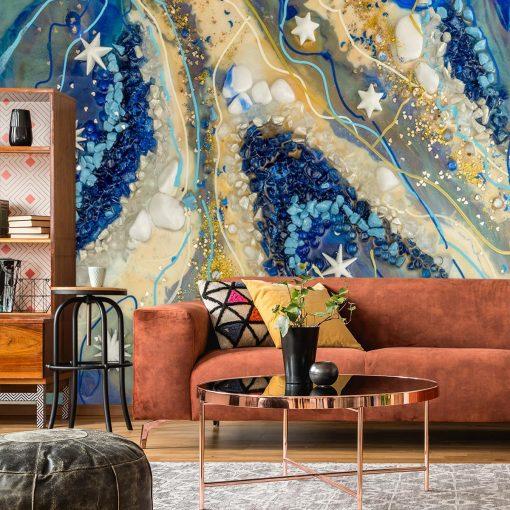 Cream and blue geode art mural