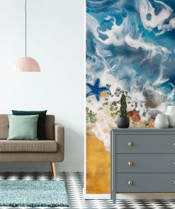A wall mural with a sea theme