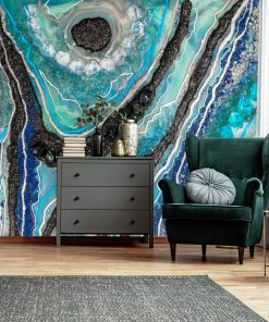 Wall mural with a blue epoxy resin motif