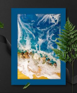 A poster with a sea and seashells theme