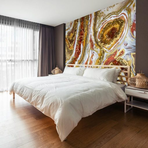 Wall mural with geode art