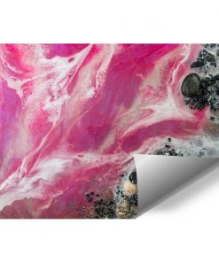 Wall mural with pink sea and beach