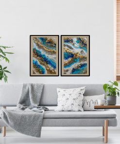 Double poster with blue abstraction