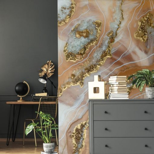 Wall mural with beige abstraction