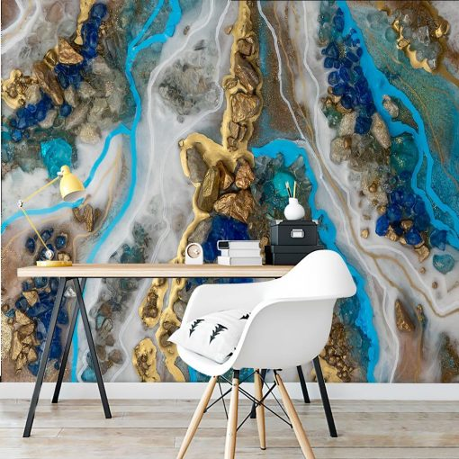 Resin art wall mural with stones for the bedroom