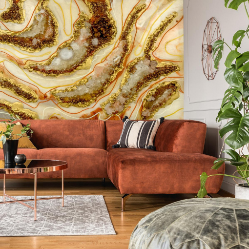 Wall mural reproduction of a resin painting for a living room with stones and smears