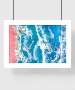 Geode art poster with sandy beach