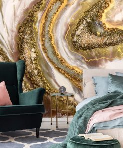 Geode art mural with creamy golden abstraction