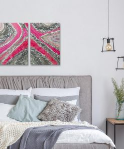 Double abstract painting for the bedroom