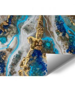 Resin art mural with blue stones