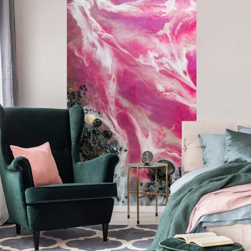 Wall mural with a pink sea theme