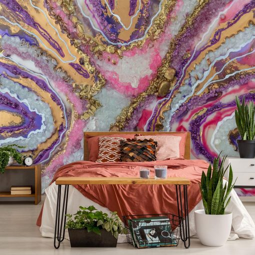 An abstract mural with purple crystals