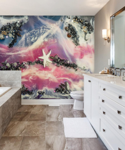 abstract sea resin wall mural for the bathroom