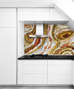 Wall Mural - Geode art with gold stones
