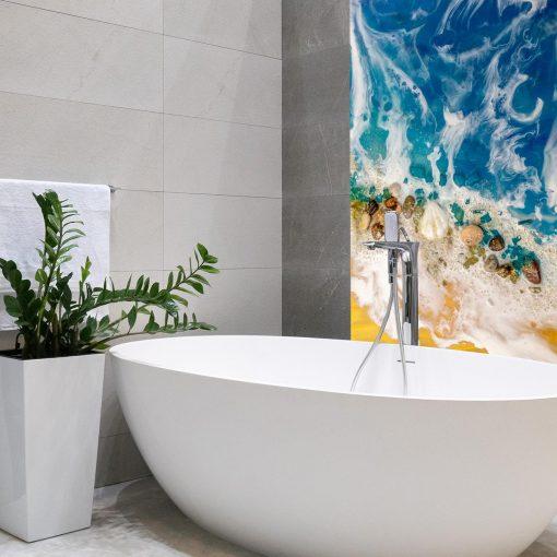 Resin sea mural for the bathroom