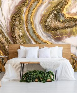 Wall mural with abstraction from stones and crystals