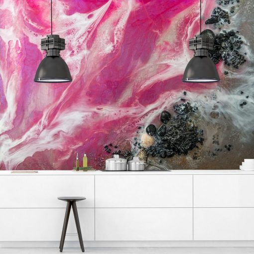 Pink sea mural for the kitchen