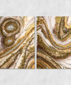 Picture of a diptych with a motif of creamy pebbles
