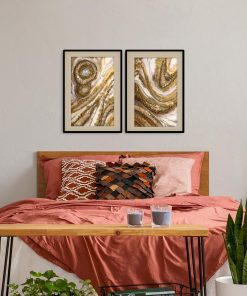 Cream diptych poster with a touch of gold