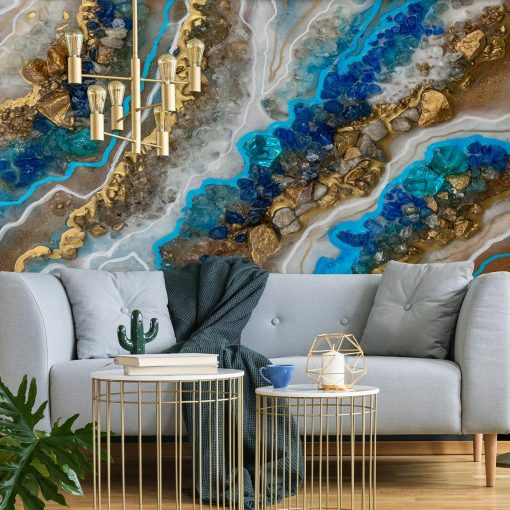 Photo wallpaper with an epoxy resin motif