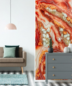 a wall mural for a room with a geode art abstract motif