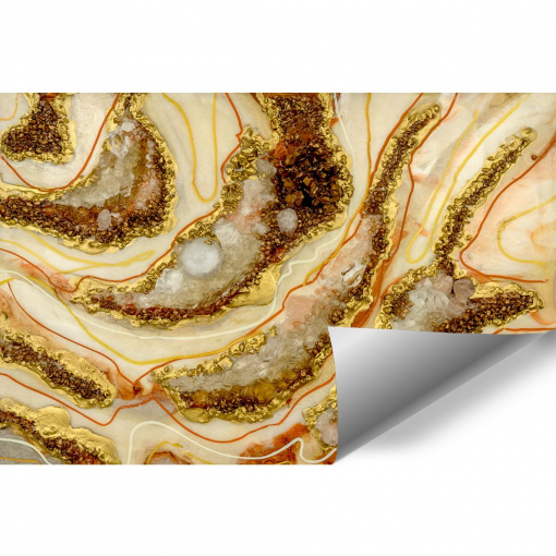 Wall mural decoration with geode style stones
