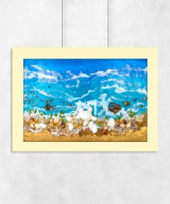 Resin sea poster with blue waves