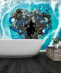 Wall mural with a heart made of shells for the bathroom