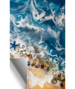Wall mural resin sea with shells