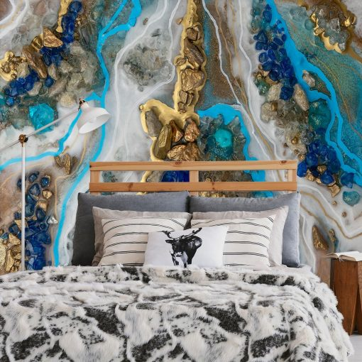 Geode art mural with blue stones pattern