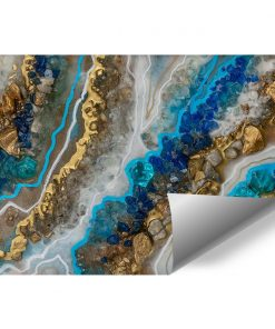 Photo wallpaper with gold and blue crystals