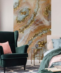 A wall mural with beige crystals