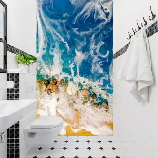 Resin sea wall mural for the toilet