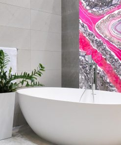 Wall mural with pink crystals for the bathroom