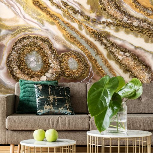 Wall Mural - Golden abstraction for the living room
