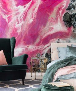 A mural depicting a pink sea